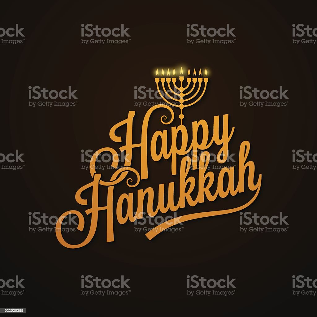 Hanukkah Vintage Lettering design Background - ilustración de arte vectorial