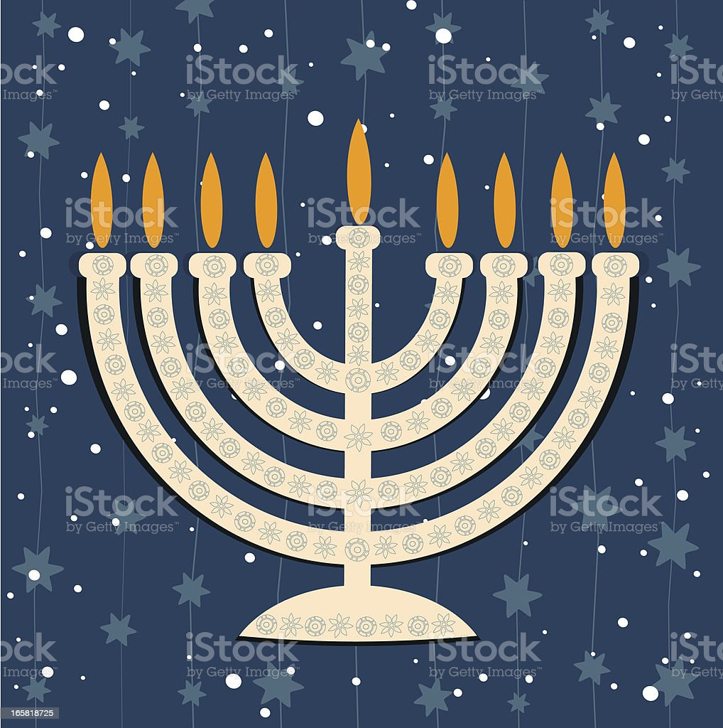 Hanukkiya On Blue Background royalty-free stock vector art