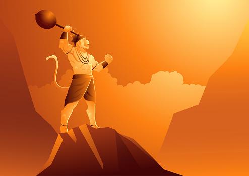 Hanuman standing on mountain
