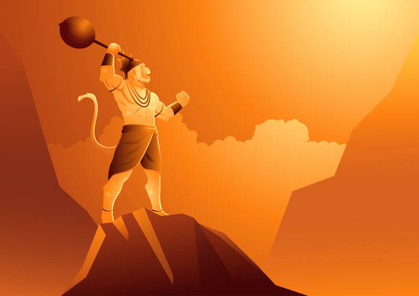 Hanuman standing on mountain Vector illustration of Hanuman standing on mountain, Indian God of Hindu hanuman stock illustrations