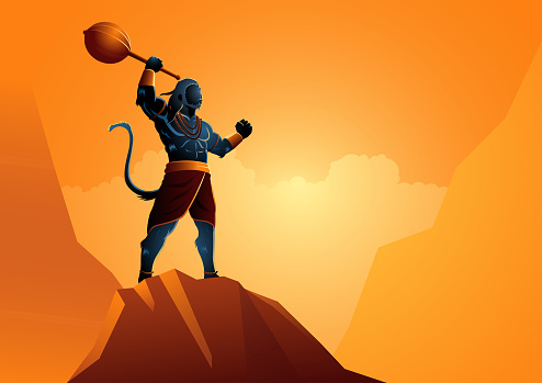 Hanuman standing on the rock