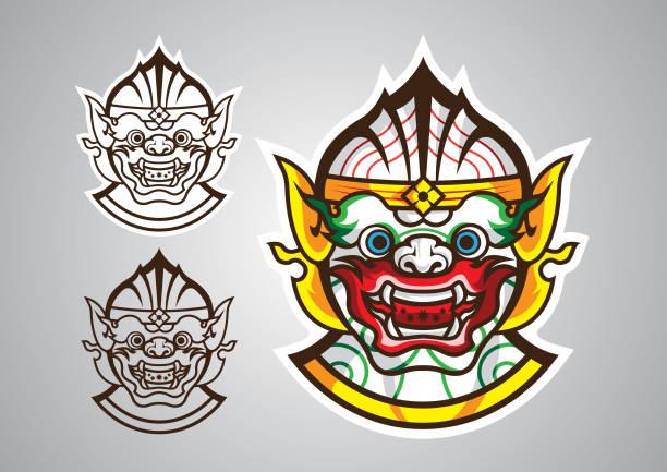 hanuman-monkey-linethai-emblem-logo-vector hanuman-monkey-linethai-emblem-logo-vector hanuman stock illustrations