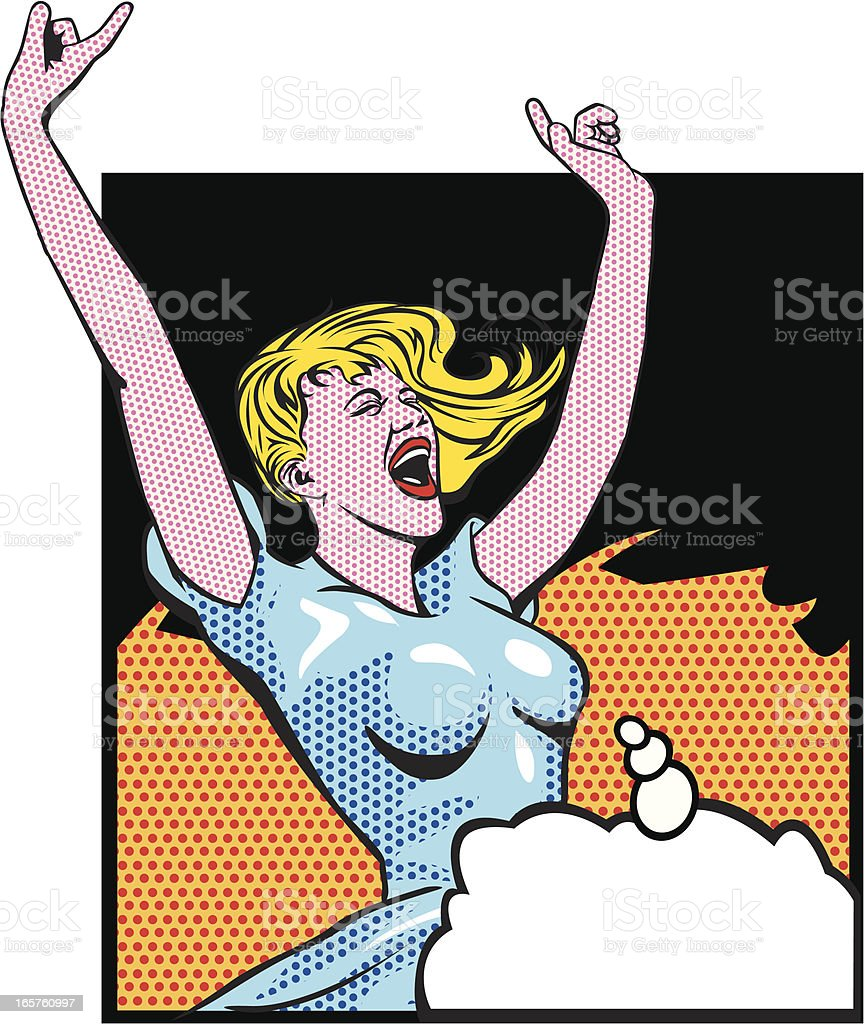 happiness and free woman vector art illustration