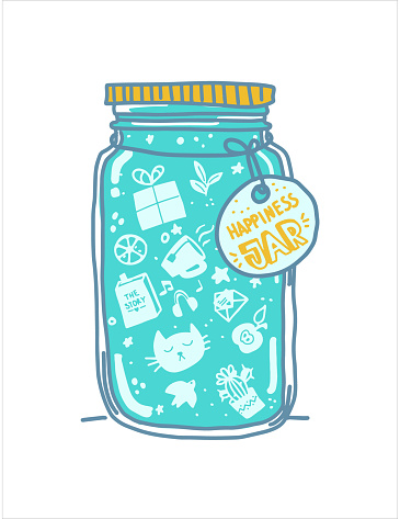 Happiness concept. Jar of happiness.