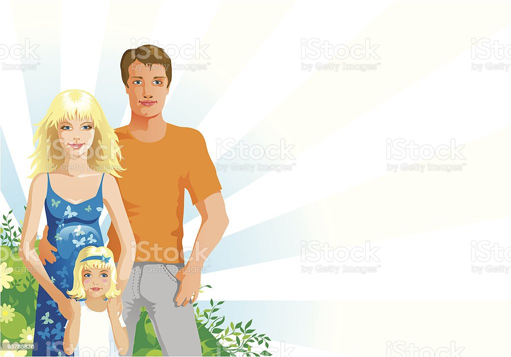 happiness family vector art illustration