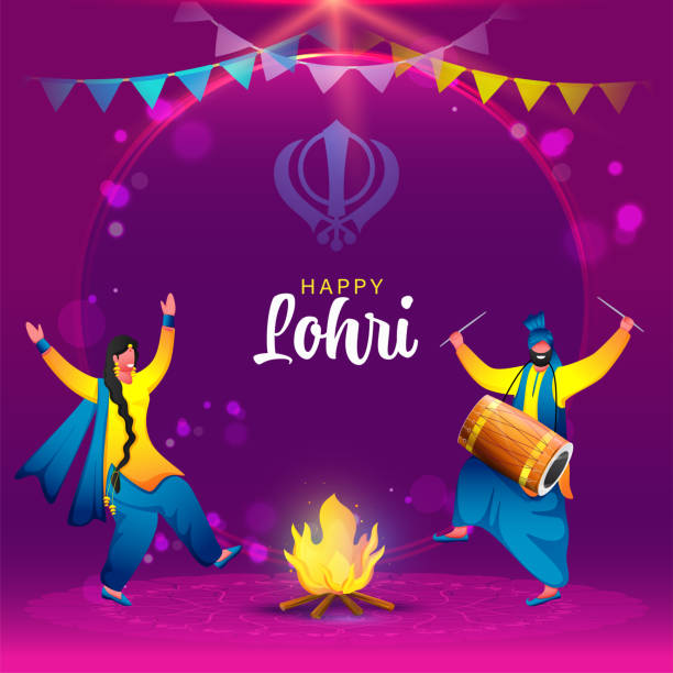 Happiness Punjabi Man And Woman Doing Bhangra Dance With Dhol Instrument, Bonfire Illustration On Purple Background For Happy Lohri Celebration. vector art illustration