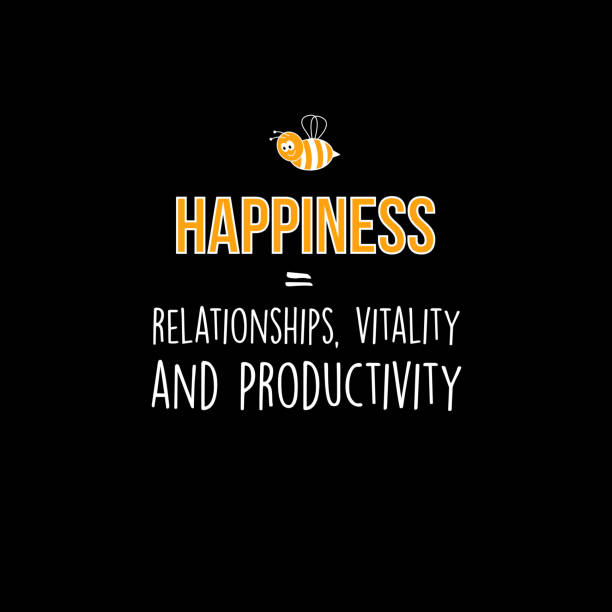 Happiness = Relationships, vitality and productivity vector art illustration