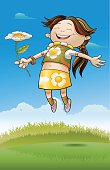Happy girl jumping with a daisy flower in a sunny day