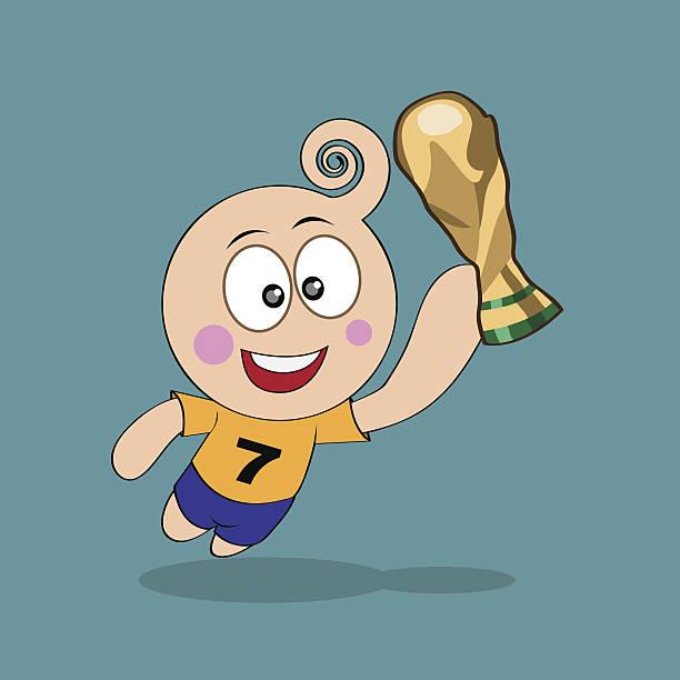 stockillustraties, clipart, cartoons en iconen met happiness with trophy world cup - internationaal voetbalevenement