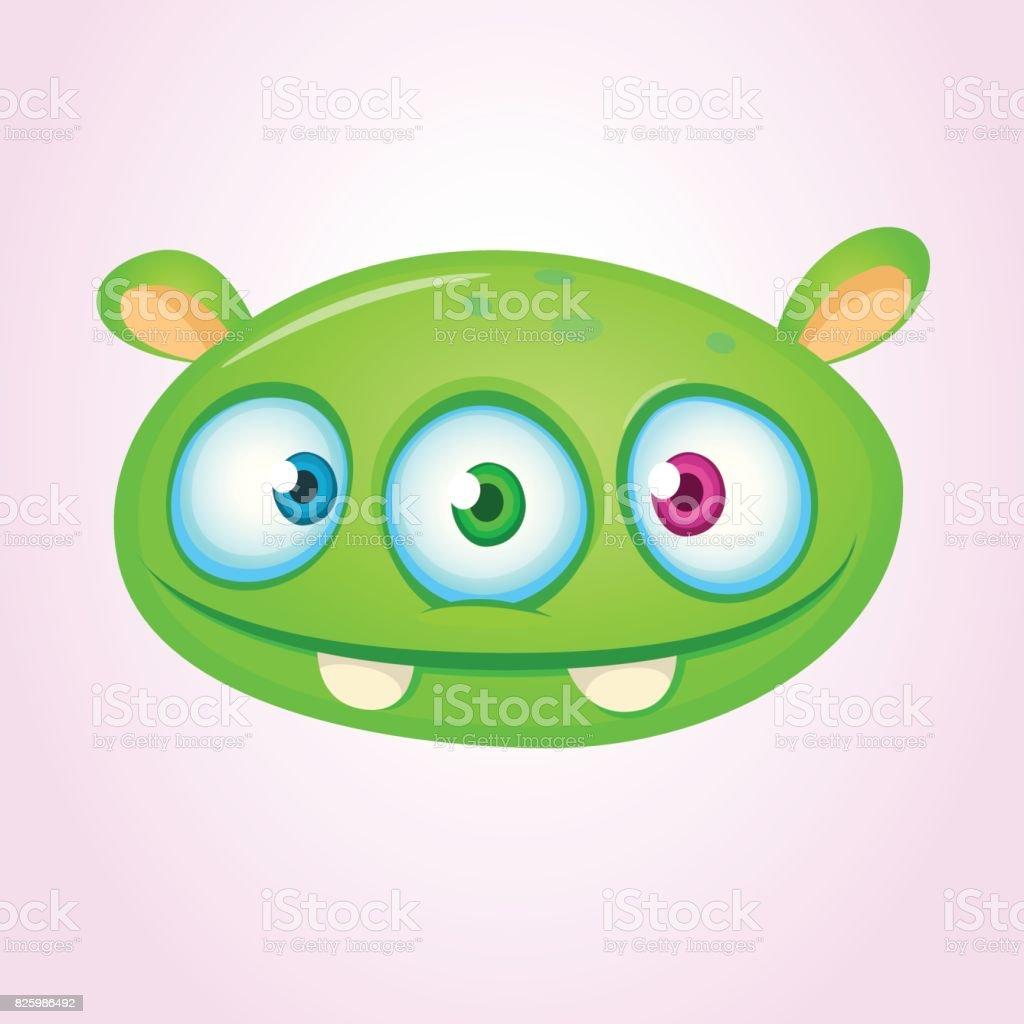 happu cartoon alien head vector illustration of monster head stock