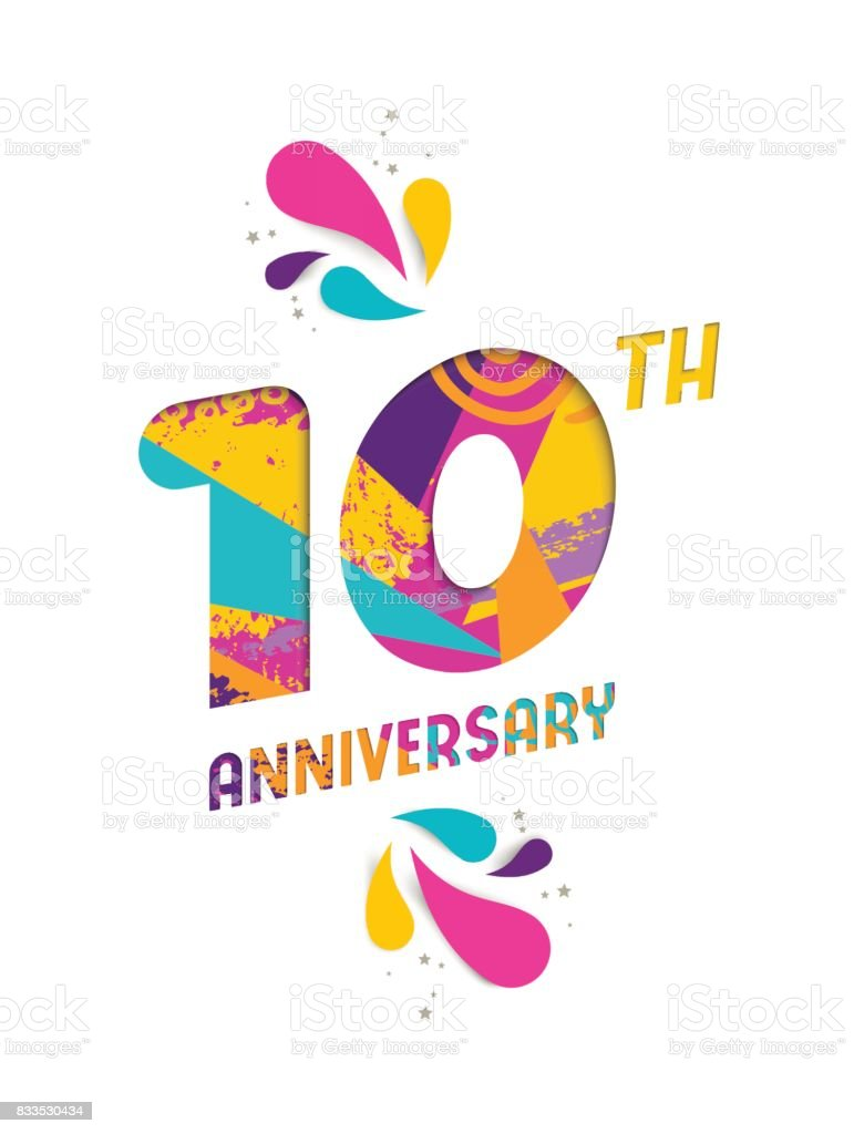 Happy 10 Year Anniversary Paper Cut Greeting Card Stock Illustration Download Image Now Istock