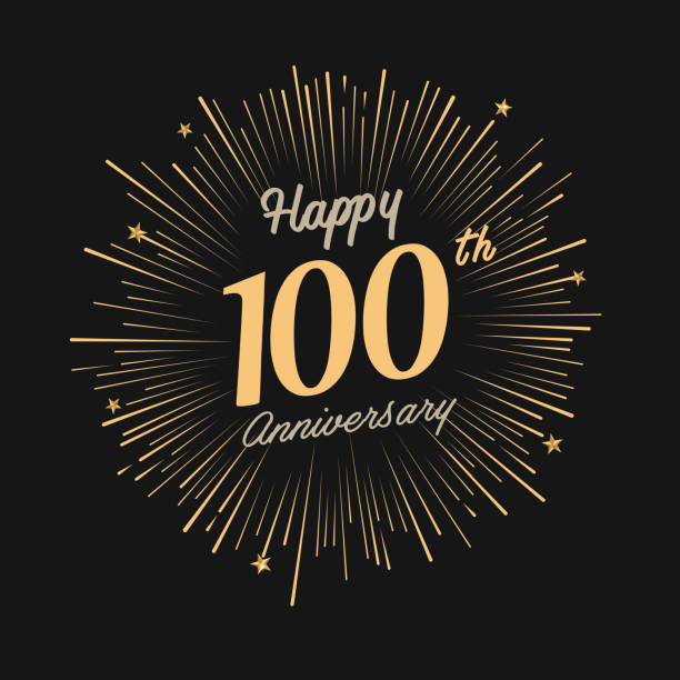 Happy 100th Anniversary with fireworks and star brochure, card, banner template 100th anniversary stock illustrations