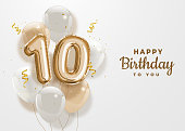 istock Happy 10th birthday gold foil balloon greeting background. 1220765626