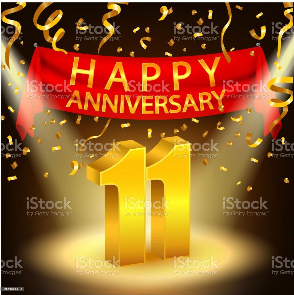 happy 11th anniversary celebration with golden confetti and