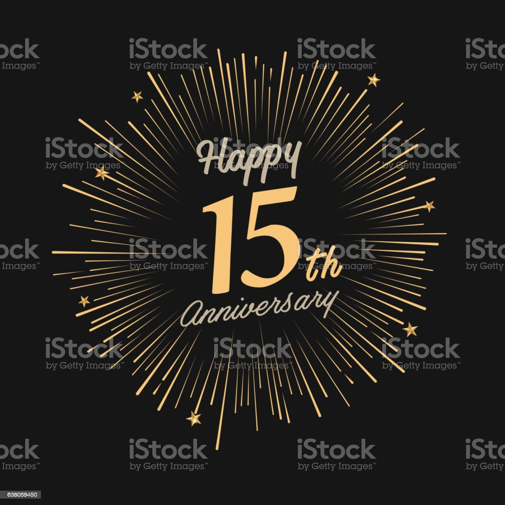 Happy 15th Anniversary with fireworks and star - ilustración de arte vectorial