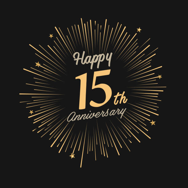 illustrations, cliparts, dessins animés et icônes de happy 15th anniversary with fireworks and star - anniversaire d'un évènement