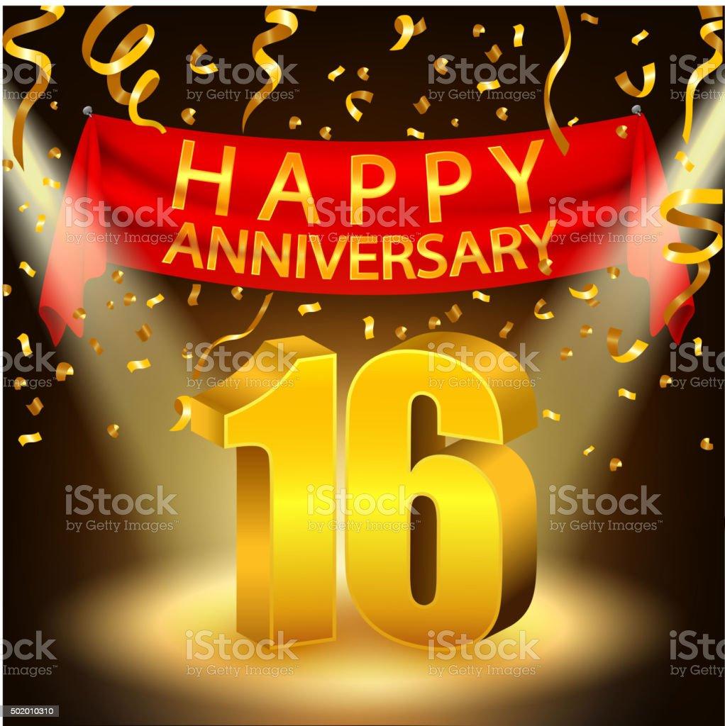 Happy 16th Anniversary celebration with golden confetti and spotlight vector art illustration