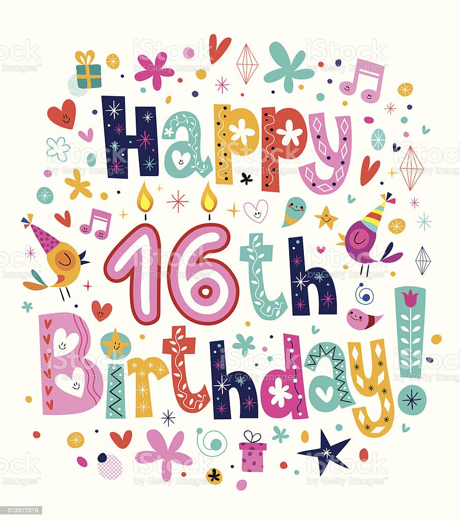 Happy 16th Birthday vector art illustration