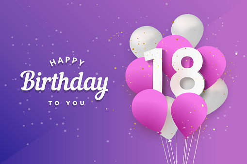 Happy 18th birthday balloons greeting card background.