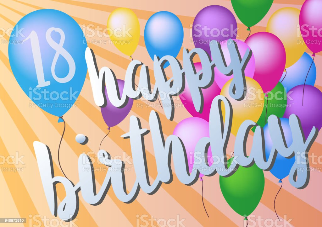 Happy 18th Birthday Greeting Card With Colorful Balloons Stock
