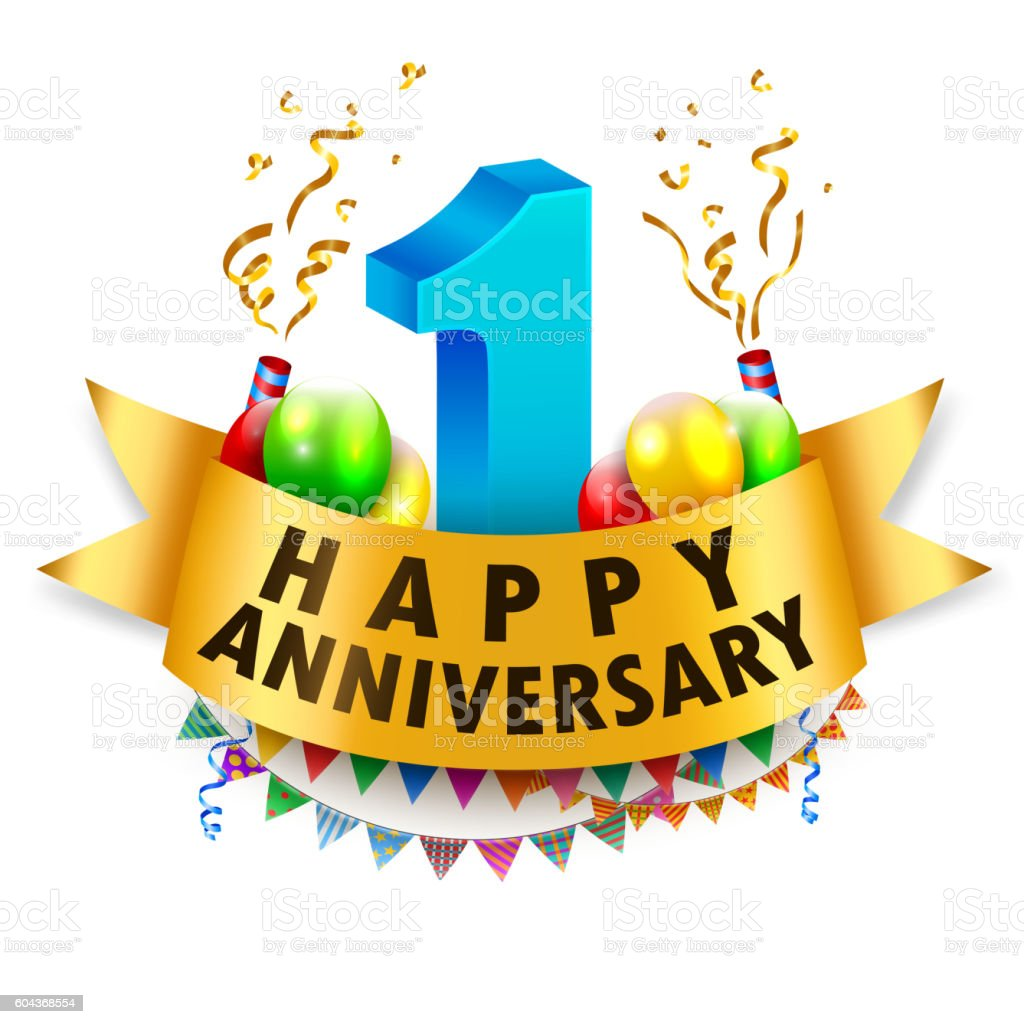 Happy 1st Anniversary Celebration Stock Illustration ...
