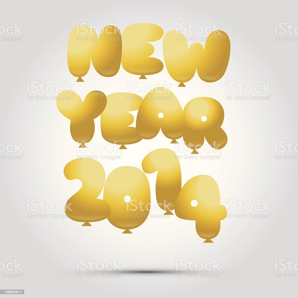 Happy 2014 balloons royalty-free stock vector art