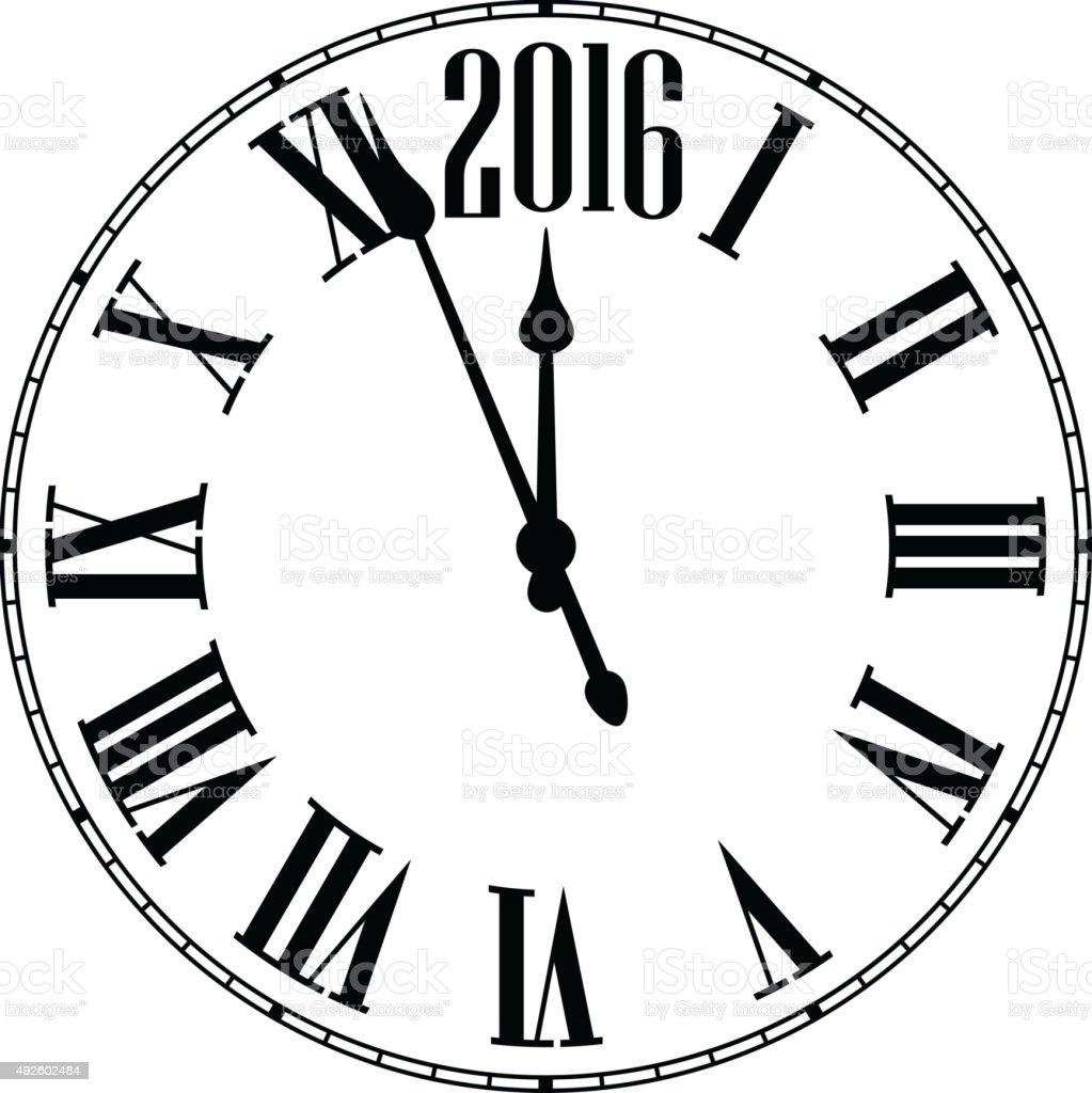 Happy 2016 year. Vintage clock vector art illustration