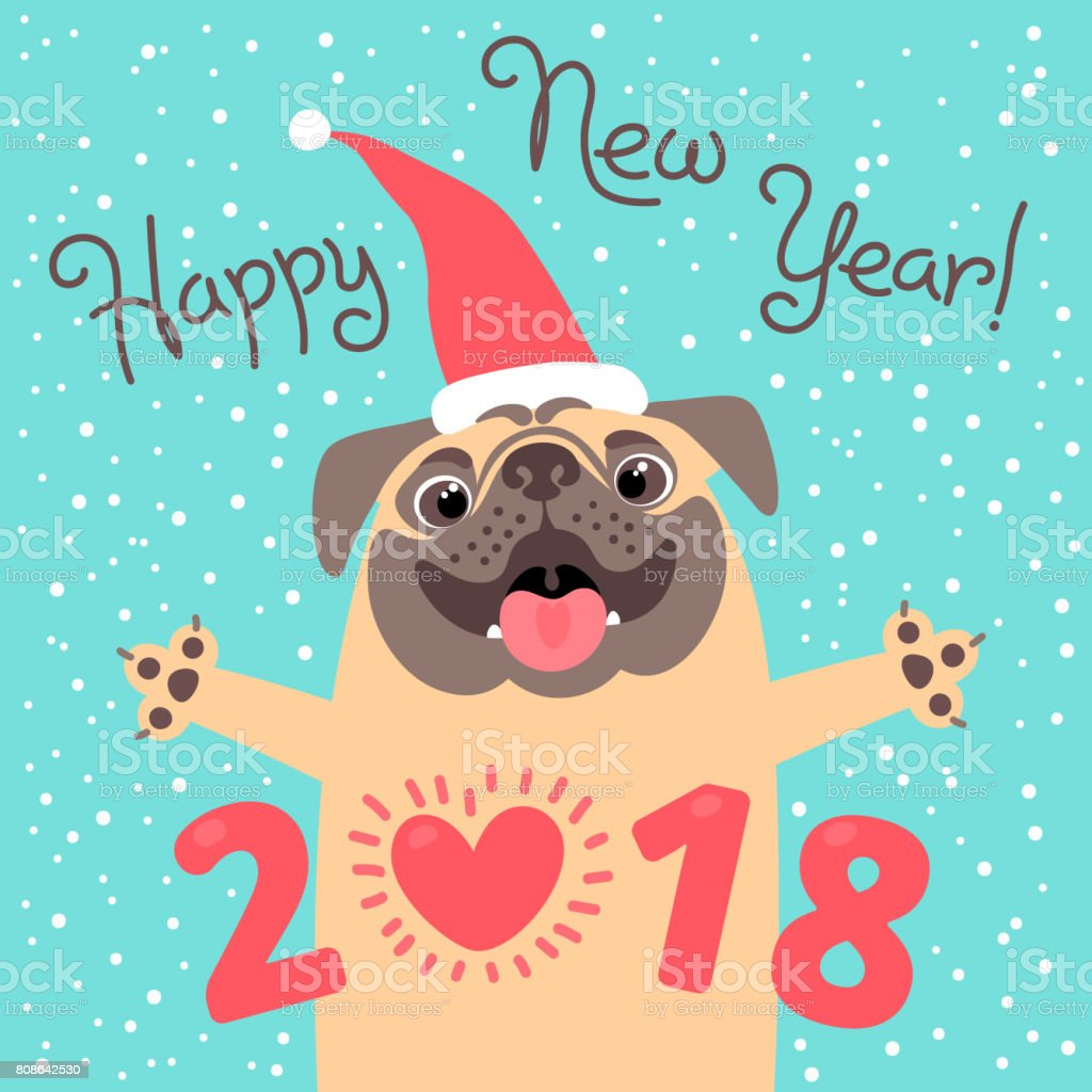 Happy 2018 New Year Card Funny Pug Congratulates On Holiday Dog