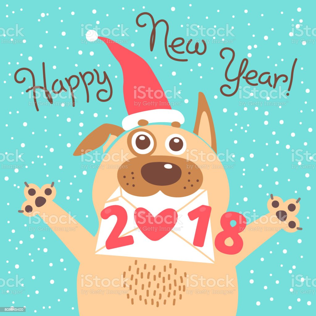 Happy 2018 New Year Card. Funny Puppy Congratulates On Holiday. Dog Chinese  Zodiac Symbol