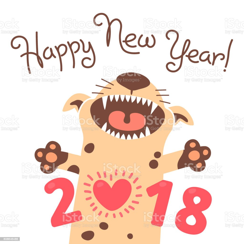 Happy 2018 new year card funny puppy congratulates on holiday dog funny puppy congratulates on holiday dog chinese zodiac symbol publicscrutiny Images