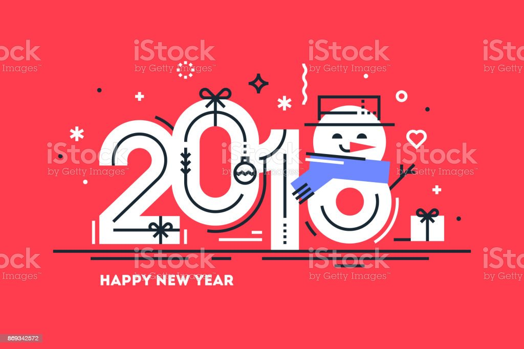 Happy 2018 New Year flat thin line horizontal greeting card or banner with cute snowman instead number 8. Bright Christmas template for print or web. Vector illustration. vector art illustration