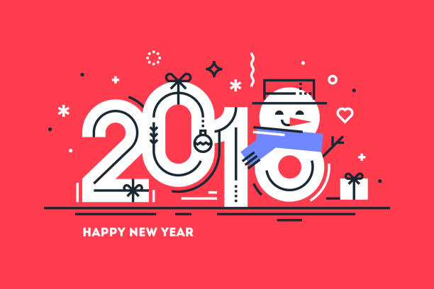 happy 2018 new year flat thin line horizontal greeting card or banner with cute snowman instead number 8. bright christmas template for print or web. vector illustration. - new years eve stock illustrations, clip art, cartoons, & icons