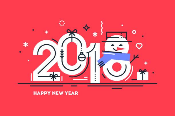 幸せな 2018 年フラット細い線水平グリーティング カードやかわいい雪だるまバナー代わりに番号 8。明るいクリスマス テンプレート印刷用または web。ベクトルの図。 - 大晦日点のイラスト素材/クリップアート素材/マンガ素材/アイコン素材
