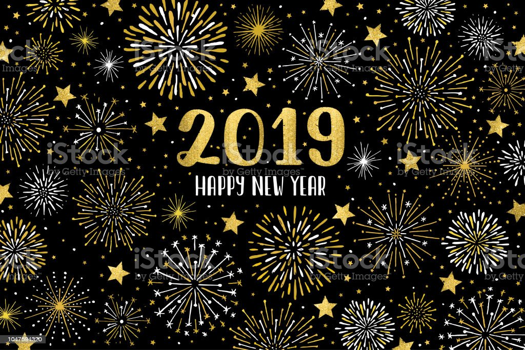 Happy 2019 fireworks Easily editable vector illustration on layers. This image contains one clipping mask. 2019 stock vector