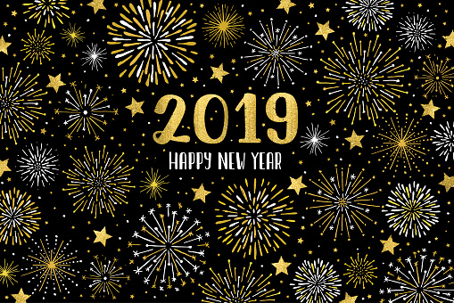 Happy 2019 Fireworks Stock Illustration - Download Image Now