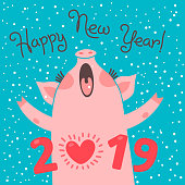 Happy 2019 New Year card. Funny piglet congratulates on holiday. Pig Chinese zodiac symbol of the year. Vector illustration in cartoon style