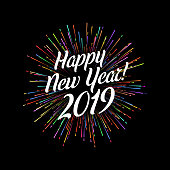 Happy 2019 New Year card with firework. Greeting card or poster template. Vector background.