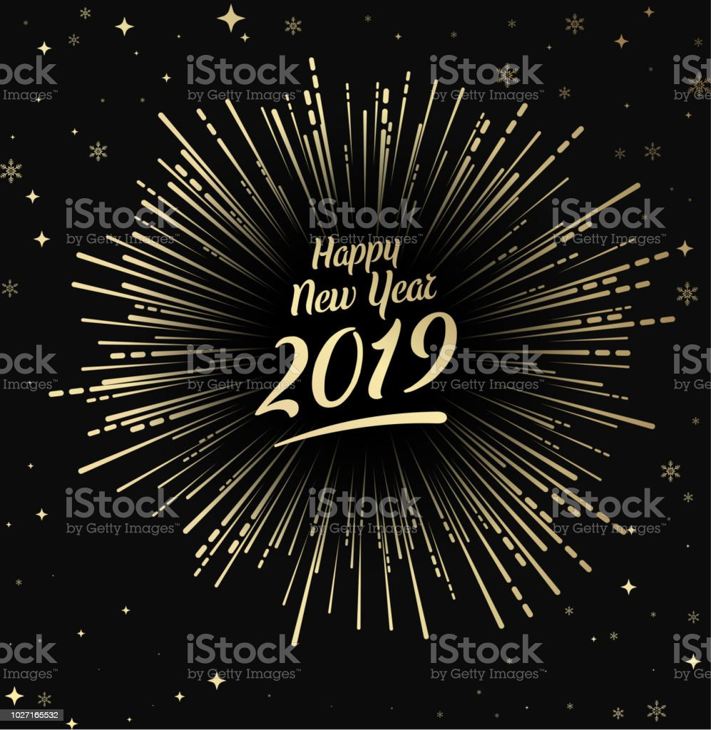 Happy 2019 New Year card with gold firework. royalty-free happy 2019 new year card with gold firework stock illustration - download image now