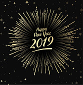 Black Happy 2019 New Year card with gold firework. Greeting card or festive poster. Vector background.