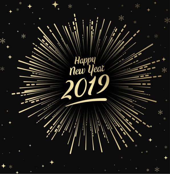 Happy 2019 New Year card with gold firework. vector art illustration
