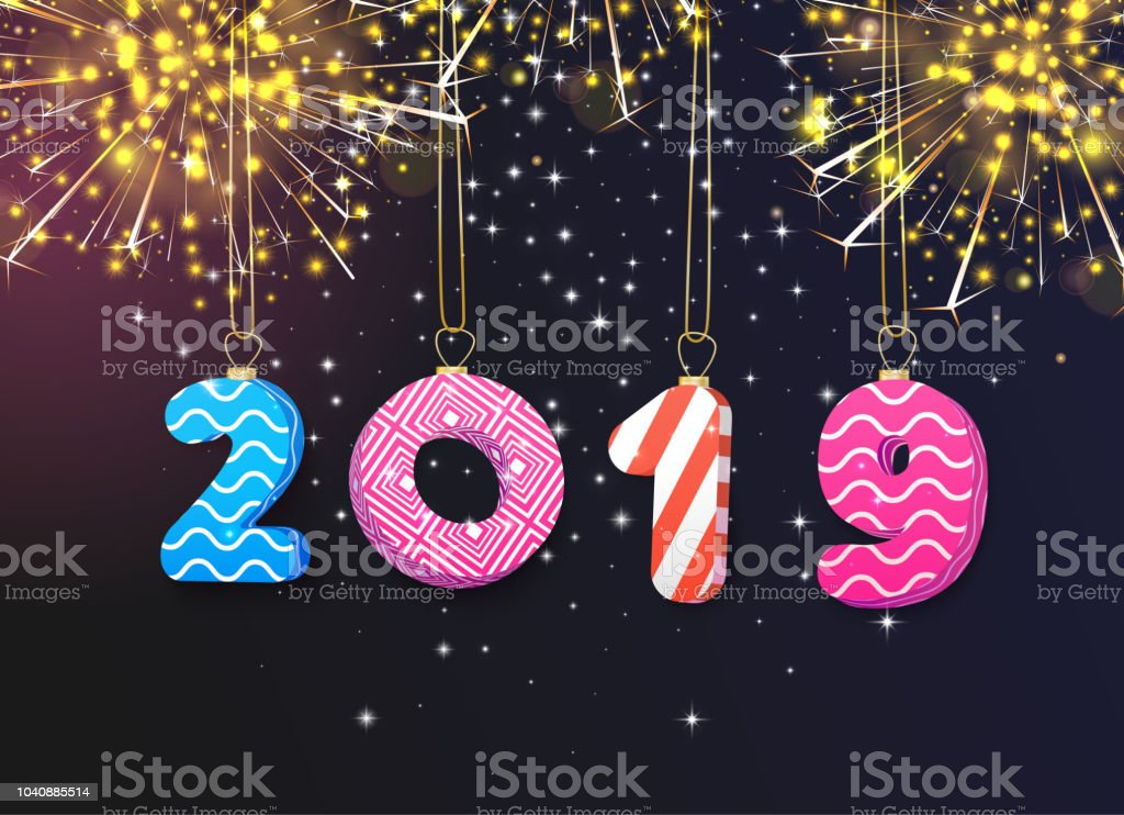 Happy 2019 new year greeting card with firework stock vector art happy 2019 new year greeting card with firework royalty free happy 2019 new year m4hsunfo