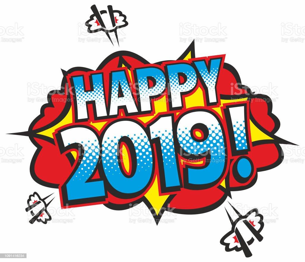 Happy 2019 vector art illustration