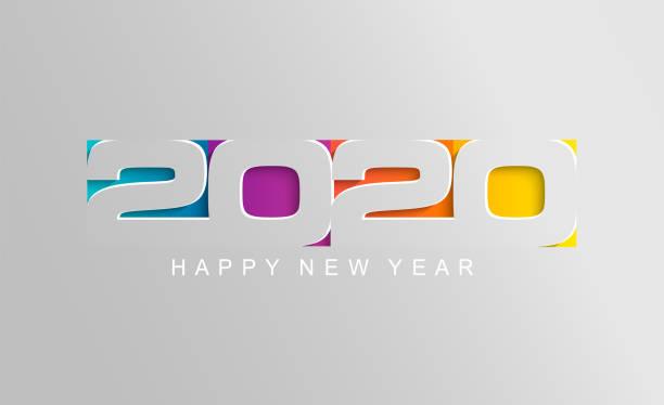 kağıt tarzında happy 2020 yeni yıl kartı. - yıllık olay stock illustrations