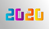 Happy 2020 new year card. Modern banner greetings christmas cards.