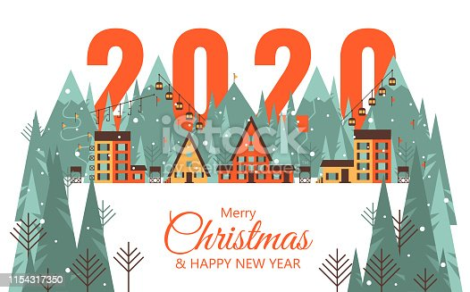 Happy 2020 New Year card with Mountain city. Merry Christmas card with winter landscape. Vector illustration