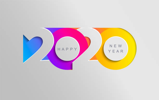 happy 2020 new year insta colour banner. - calendars templates stock illustrations