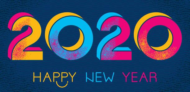 Frohes Jahr 2020 – Vektorgrafik