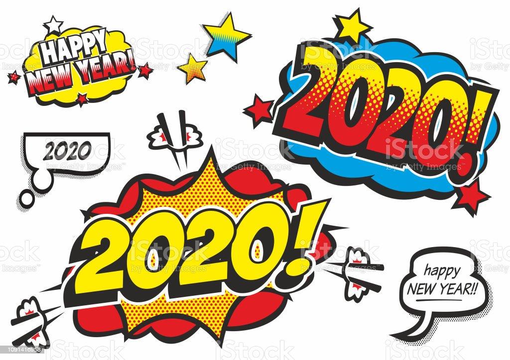 Happy 2020 Set vector art illustration