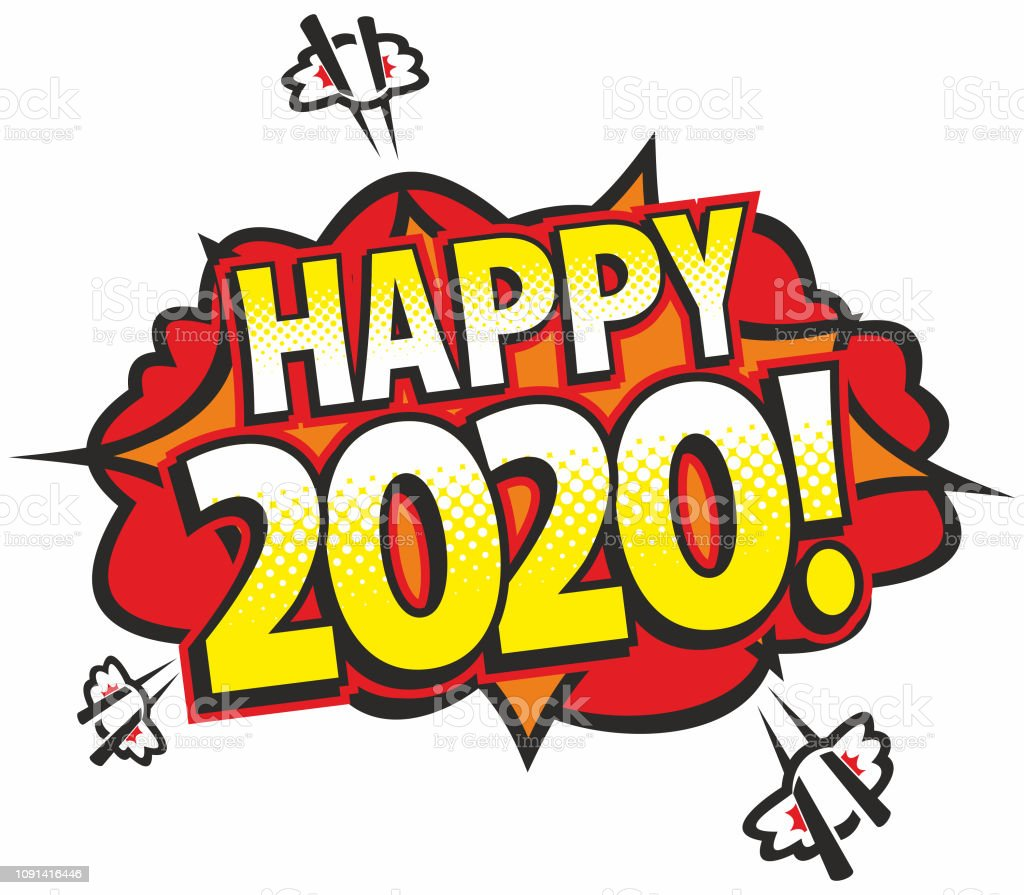 Happy 2020 vector art illustration