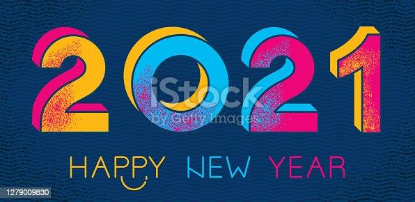 istock Happy 2021 New Year greeting. 1279009830